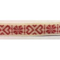 Allmogeband 11mm naturvitt med ljusrött vävt mönster