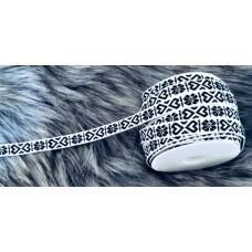 Allmogeband 11mm vitt med svart vävt mönster