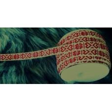 Allmogeband 11mm naturvitt med rött vävt mönster