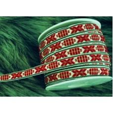 Leksandsband 9mm, vit/grön/röd