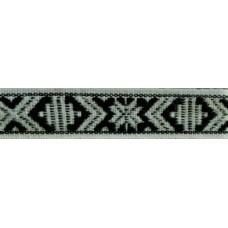 Leksandsband 15mm, vit/svart