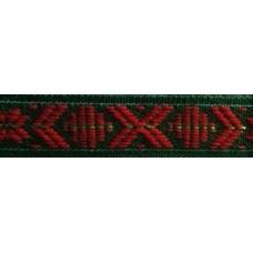 Leksandsband 15mm, grön/röd