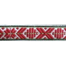Leksandsband 15mm vit/grön/röd