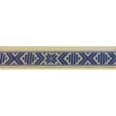Leksandsband 15mm, vit/blå