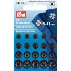Tryckknappar 6-11mm svart