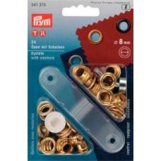 Öljetter 24-pack guldmetall 8mm