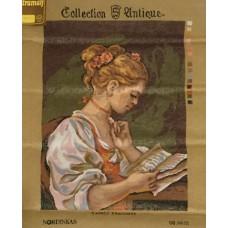 Stramaljtavla läsande kvinna