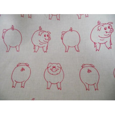 Halvlinnehandduk röd gris