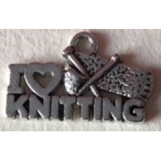 Metalldekoration I love knitting