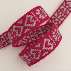 Allmogeband 11mm rött med grått vävt mönster